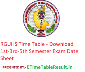 RGUHS Time Table 2019-2020 - Download 1st-3rd-5th Semester Exam Date Sheet
