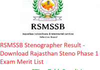 RSMSSB Stenographer Result 2019 - Download Rajasthan Steno Phase 1 Exam Merit List