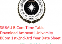 SGBAU B.Com Time Table 2020 - Download Amravati University BCom 1st-2nd-3rd Year Exam Date Sheet