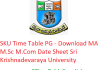 SKU Time Table 2020 PG Exam - Download MA M.Sc M.Com Date Sheet Sri Krishnadevaraya University