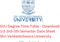 SVU Degree Time Table 2019-20 - Download 1st-3rd-5th Semester Date Sheet Shri Venkateshwara University