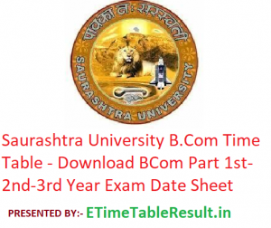 Saurashtra University B.Com Time Table 2020 - Download BCom Part 1st-2nd-3rd Year Exam Date Sheet