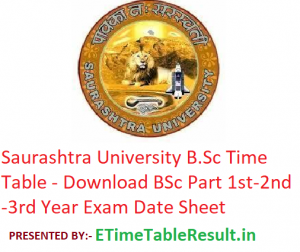 Saurashtra University B.Sc Time Table 2020 - Download BSc Part 1st-2nd-3rd Year Exam Date Sheet