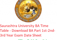 Saurashtra University BA Time Table 2020 - Download BA Part 1st-2nd-3rd Year Exam Date Sheet