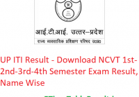 UP ITI Result 2019-20 - Download NCVT 1st-2nd-3rd-4th Semester Exam Results, Name Wise