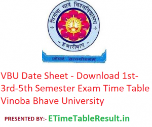 VBU Date Sheet 2019-20 - Download 1st-3rd-5th Semester Exam Time Table Vinoba Bhave University