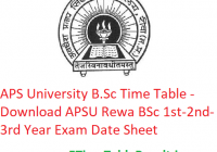 APS University B.Sc Time Table 2020 - Download APSU Rewa BSc 1st-2nd-3rd Year Exam Date Sheet