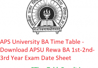 APS University BA Time Table 2020 - Download APSU Rewa BA 1st-2nd-3rd Year Exam Date Sheet