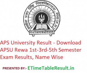 APS University Result 2019-20 - Download APSU Rewa 1st-3rd-5th Semester Exam Results, Name Wise