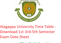 Alagappa University Time Table 2019-20 - Download 1st-3rd-5th Semester Exam Date Sheet