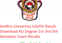 Andhra University Result 2019-20 - Download AU Degree 1st-3rd-5th Semester Exam Results