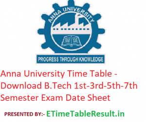 Anna University Time Table 2019-20 - Download B.Tech 1st-3rd-5th-7th Semester Exam Date Sheet