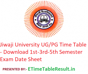 Jiwaji University Time Table 2019-20 - Download 1st-3rd-5th Semester Exam Date Sheet