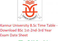 Kannur University B.Sc Time Table 2020 - Download BSc 1st-2nd-3rd Year Exam Date Sheet