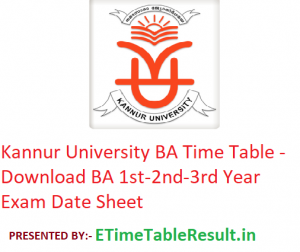 Kannur University BA Time Table 2020 - Download BA 1st-2nd-3rd Year Exam Date Sheet