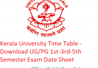Kerala University Time Table 2019-20 - Download UG/PG 1st-3rd-5th Semester Exam Date Sheet