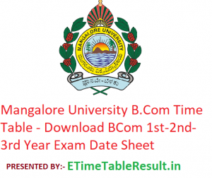 Mangalore University B.Com Time Table 2020 - Download BCom 1st-2nd-3rd Year Exam Date Sheet