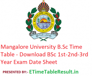 Mangalore University B.Sc Time Table 2020 - Download BSc 1st-2nd-3rd Year Exam Date Sheet