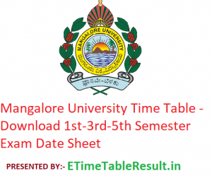 Mangalore University Time Table 2019-20 - Download 1st-3rd-5th Semester Exam Date Sheet