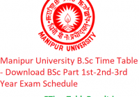 Manipur University B.Sc Time Table 2020 - Download BSc Part 1st-2nd-3rd Year Exam Schedule