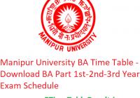 Manipur University BA Time Table 2020 - Download BA Part 1st-2nd-3rd Year Exam Schedule