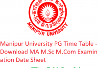 Manipur University PG Time Table 2020 - Download MA M.Sc M.Com Examination Date Sheet