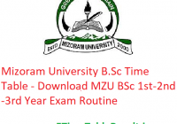 Mizoram University B.Sc Time Table 2020 - Download MZU BSc 1st-2nd-3rd Year Exam Routine