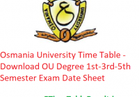 Osmania University Time Table 2019-20 - Download OU Degree 1st-3rd-5th Semester Exam Date Sheet