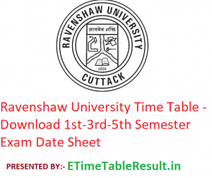 Ravenshaw University Time Table 2019-20 - Download 1st-3rd-5th Semester Exam Date Sheet