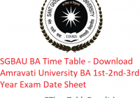 SGBAU BA Time Table 2020 - Download Amravati University BA 1st-2nd-3rd Year Exam Date Sheet