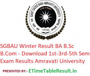 SGBAU Winter Result 2019-20 BA B.Sc B.Com - Download 1st-3rd-5th Semester Exam Results Amravati University