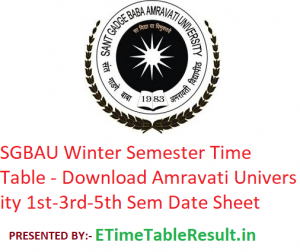 SGBAU Winter Semester Time Table 2019-20 - Download Amravati University 1st-3rd-5th Sem Exam Date Sheet