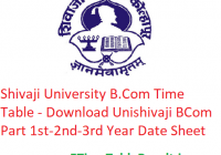 Shivaji University B.Com Time Table 2020 - Download Unishivaji BCom Part 1st-2nd-3rd Year Exam Date Sheet