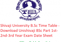Shivaji University B.Sc Time Table 2020 - Download Unishivaji BSc Part 1st-2nd-3rd Year Exam Date Sheet
