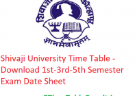 Shivaji University Time Table 2019-20 - Download 1st-3rd-5th Semester Exam Date Sheet