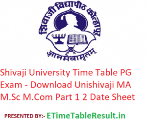 Shivaji University Time Table PG Exam 2020 - Download Unishivaji MA M.Sc M.Com Part 1 2 Date Sheet
