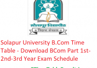 Solapur University B.Com Time Table 2020 - Download BCom Part 1st-2nd-3rd Year Exam Schedule