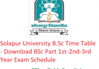 Solapur University B.Sc Time Table 2020 - Download BSc Part 1st-2nd-3rd Year Exam Schedule