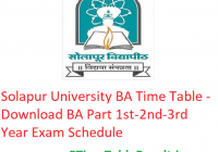 Solapur University BA Time Table 2020 - Download BA Part 1st-2nd-3rd Year Exam Schedule