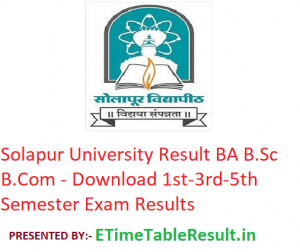 Solapur University Result 2019-20 BA B.Sc B.Com - Download 1st-3rd-5th Semester Exam Results
