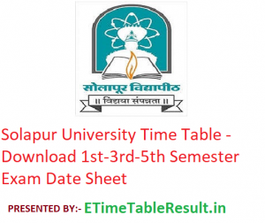 Solapur University Time Table 2019-20 - Download 1st-3rd-5th Semester Exam Date Sheet