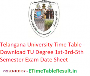 Telangana University Time Table 2019-20 - Download TU Degree 1st-3rd-5th Semester Exam Date Sheet