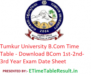 Tumkur University B.Com Time Table 2020 - Download BCom 1st-2nd-3rd Year Exam Date Sheet