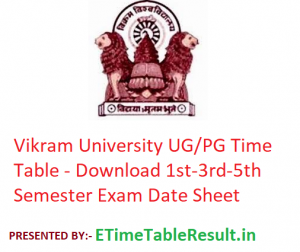 Vikram University Time Table 2019-20 - Download 1st-3rd-5th Semester Exam Date Sheet