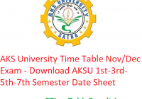 AKS University Time Table 2019-20 Nov/Dec Exam - Download AKSU 1st-3rd-5th-7th Semester Date Sheet