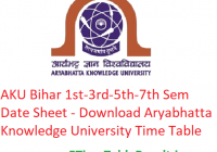 AKU Bihar 1st-3rd-5th-7th Semester Date Sheet 2019-20 - Download Aryabhatta Knowledge University UG/PG Exam Time Table
