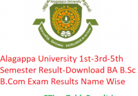 Alagappa University 1st-3rd-5th Semester Result 2019-20 - Download BA B.Sc B.Com Exam Results Name Wise