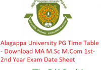 Alagappa University PG Time Table 2020 - Download MA M.Sc M.Com 1st-2nd Year Exam Date Sheet