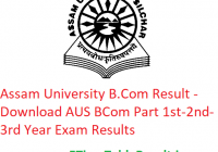 Assam University B.Com Result 2020 - Download AUS BCom Part 1st-2nd-3rd Year Exam Results