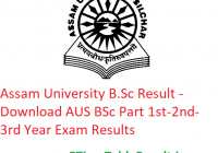 Assam University B.Sc Result 2020 - Download AUS BSc Part 1st-2nd-3rd Year Exam Results
